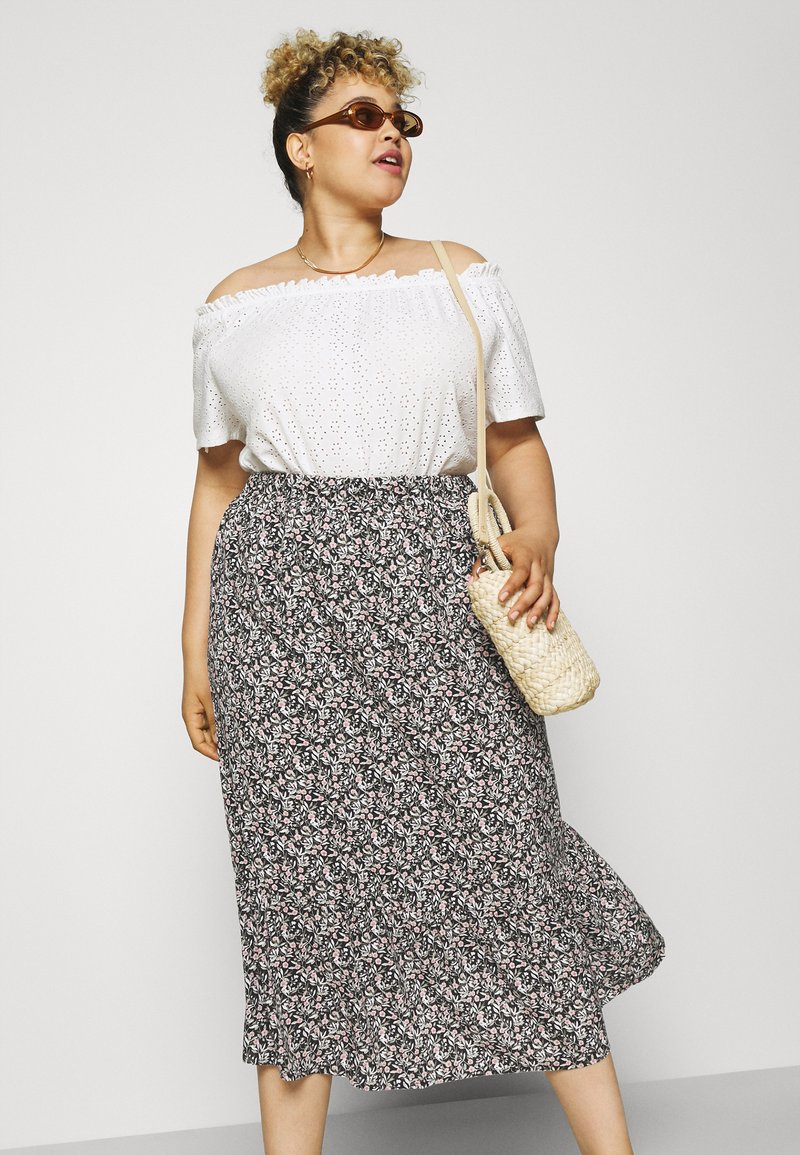 Mamalicious Curve - MLPHINA MIDI SKIRT - A-line skirt - black