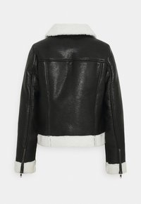Who What Wear - ZIP FRONT JACKET - Faux leather jacket - black/cream - 6