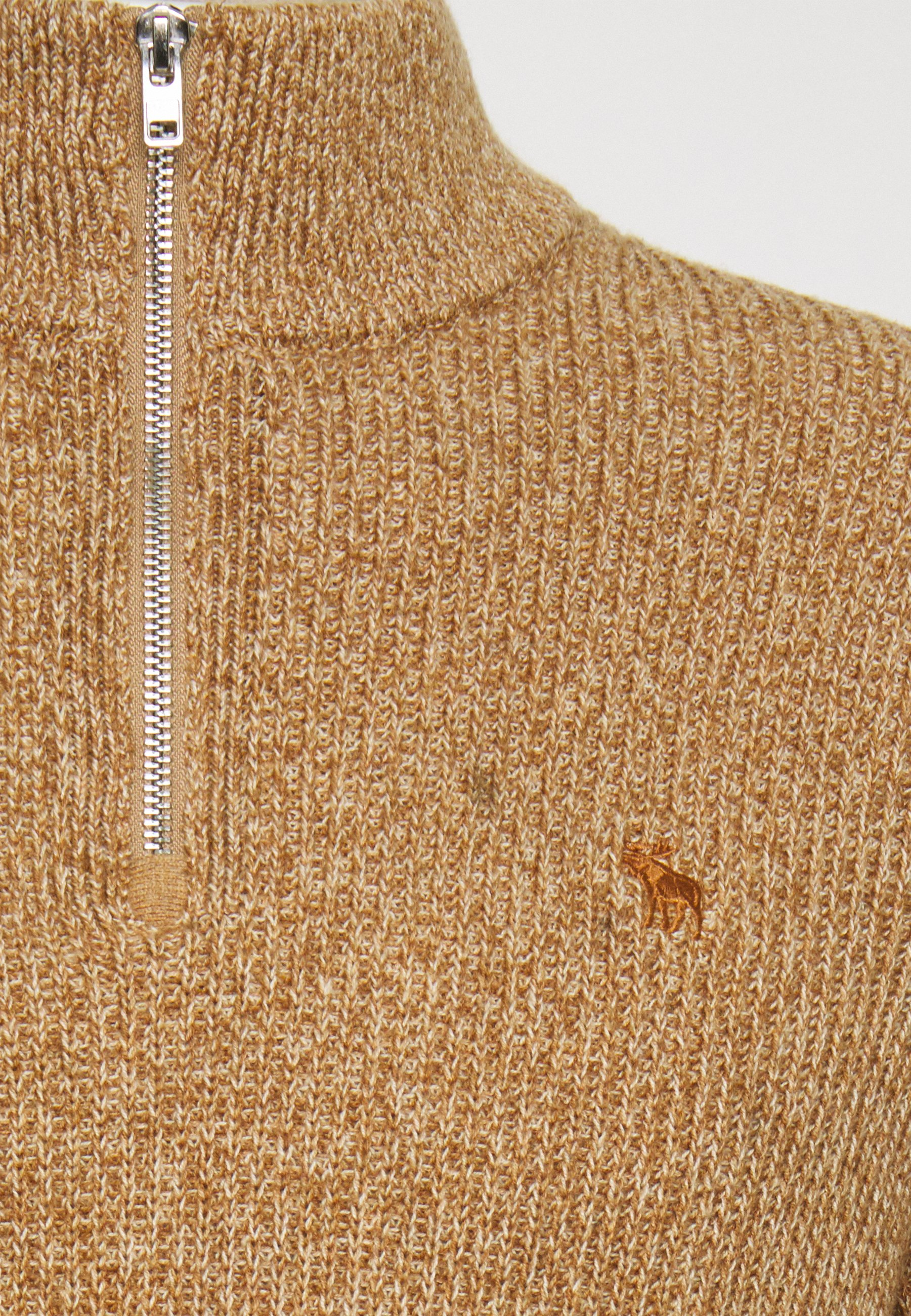 Abercrombie & Fitch Core Icon Zip - Sweter Tan