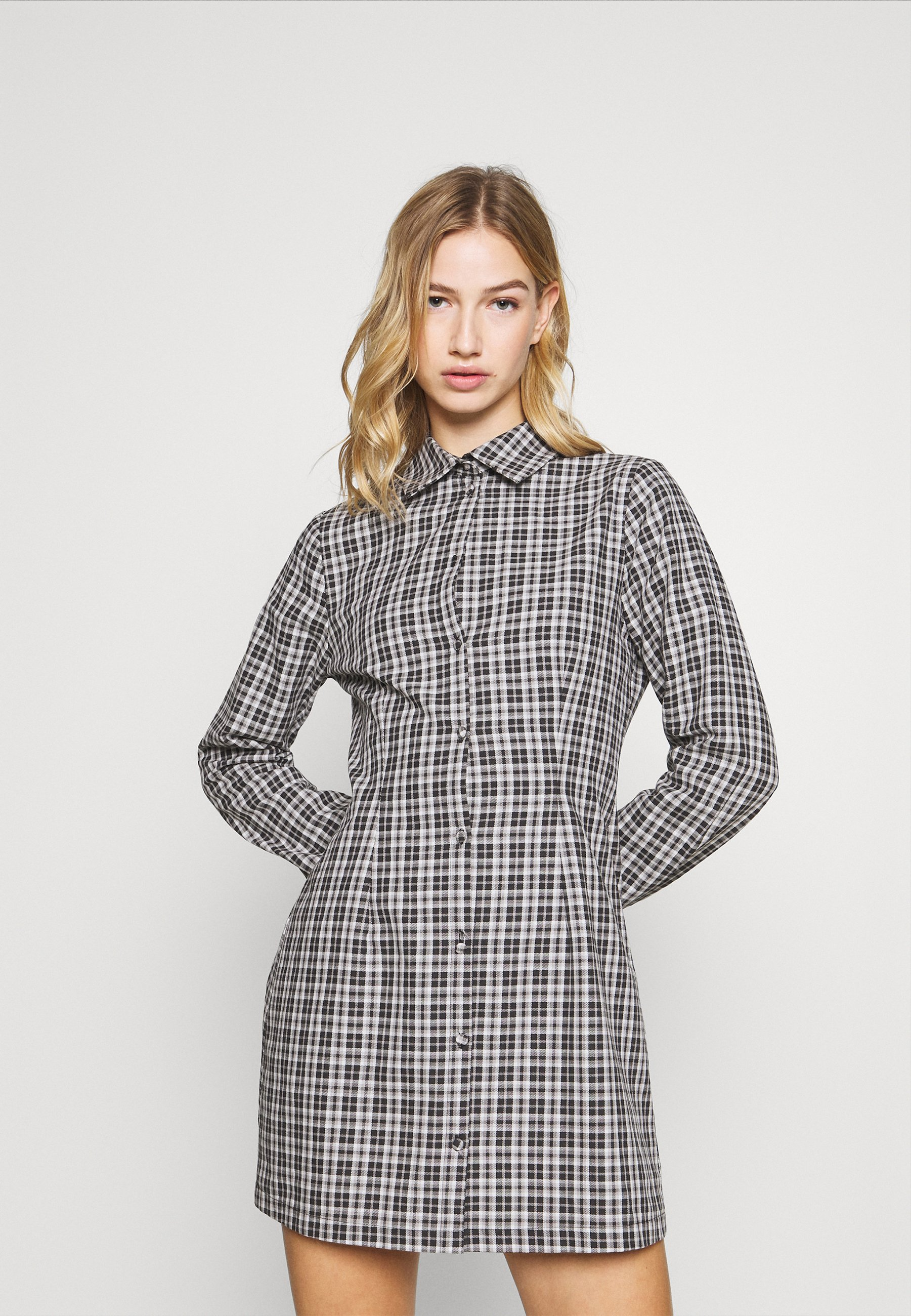 Femme CHECK FITTED DRESS LONG SLEVE - Robe chemise