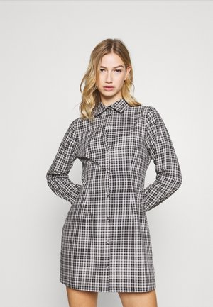 CHECK FITTED DRESS LONG SLEVE - Shirt dress - black