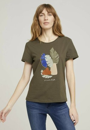 Print T-shirt - grape leaf green