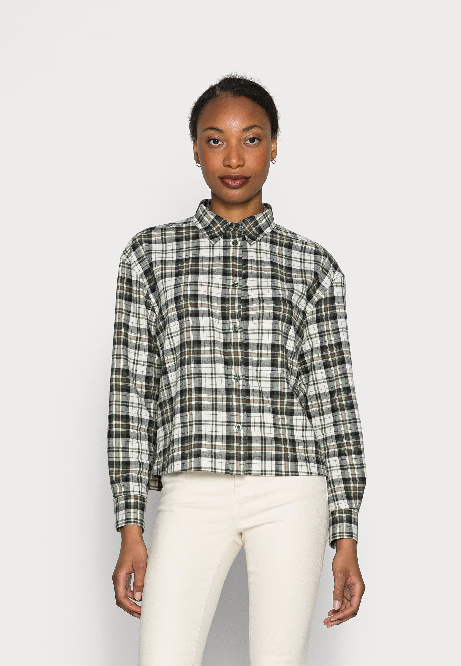 Donna BLOUSE LONG SLEEVE COLLAR CROPPED BOXY PATCHED POCKET - Camicia