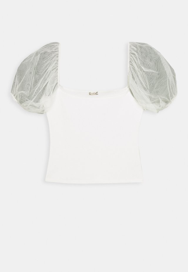 PUFF SLEEVE - T-shirt med print - ivory