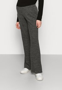 Pieces Maternity - PCMPAM FLARED PANT - Trousers - dark grey melange - 0