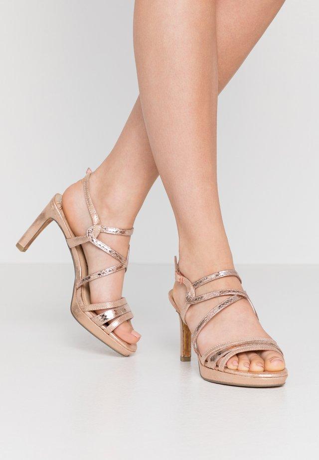 Sandály na vysokém podpatku - rose metallic