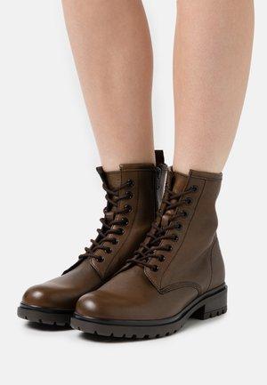 LEATHER - Šněrovací kotníkové boty - cognac
