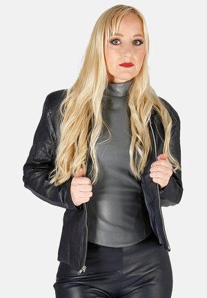 BLOUSON - Leather jacket - dunkelblau