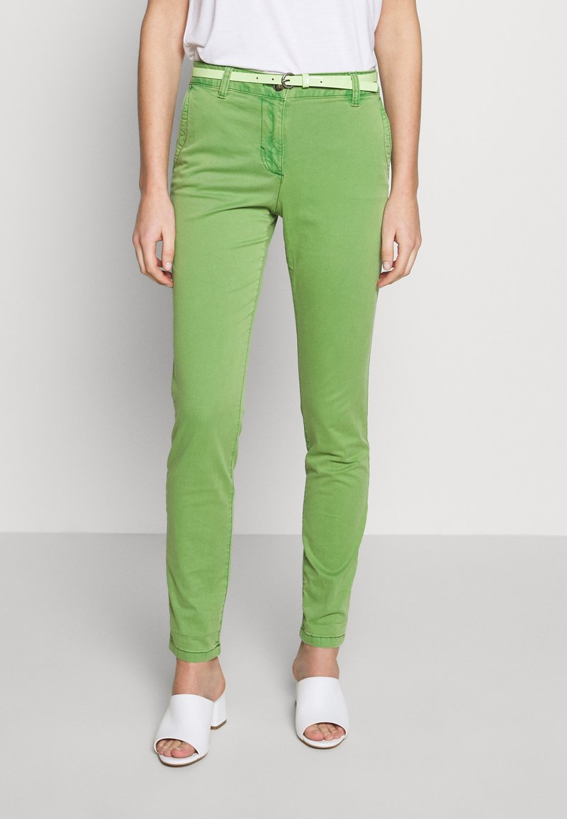 TOM TAILOR - BELTED SLIM - Chinos - sundried turf green