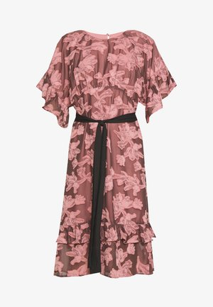 FRILL TEXTURED DRESS WITH BELT - Korte jurk - pink