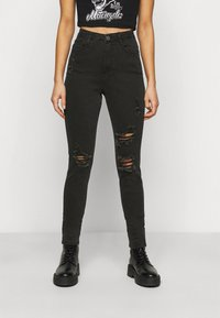 Missguided Petite - SINNER HIGHWAISTED AUTHENTIC RIPPED - Jeans Skinny Fit - black - 0