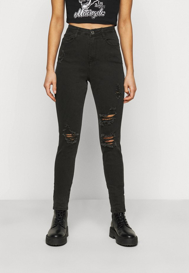 SINNER HIGHWAISTED AUTHENTIC RIPPED - Jeans Skinny - black