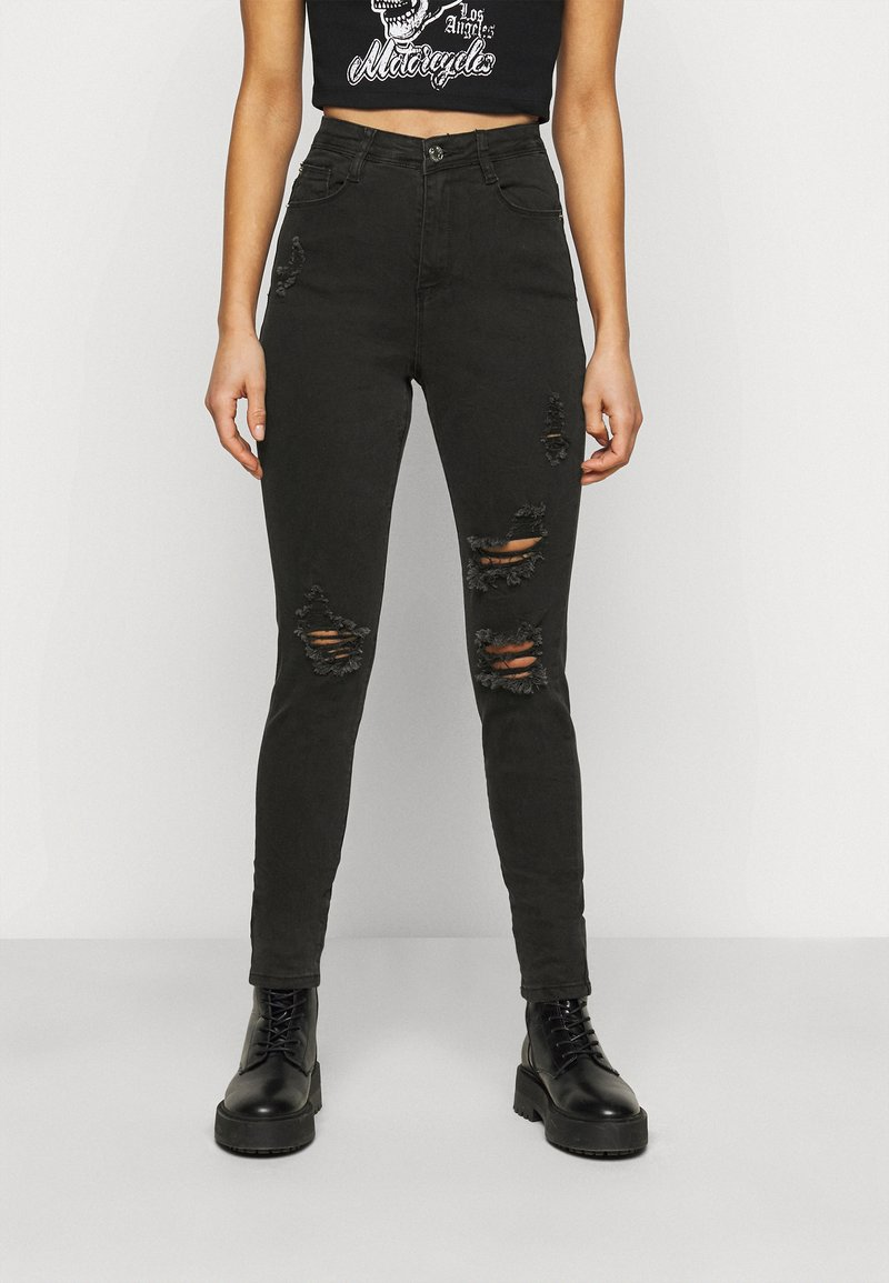 Missguided Petite - SINNER HIGHWAISTED AUTHENTIC RIPPED - Jeans Skinny Fit - black