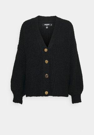 FLUFFY TEXTURED CARDIGAN - Vest - black