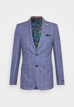 JASPE OVER CHECK JACKET SLIM - Sako - mid blue