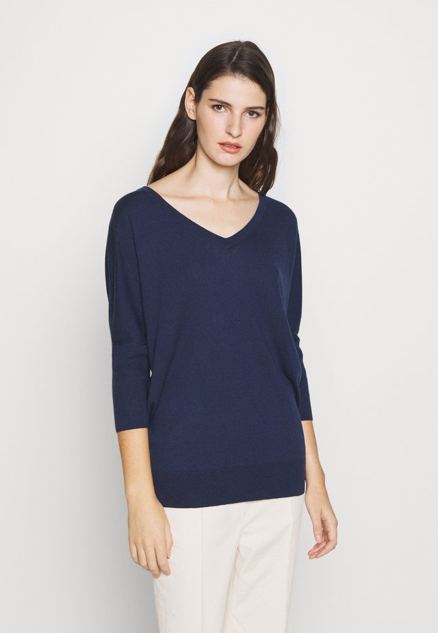 EXCLUSIVE VNECK BLEND - Pullover - navy
