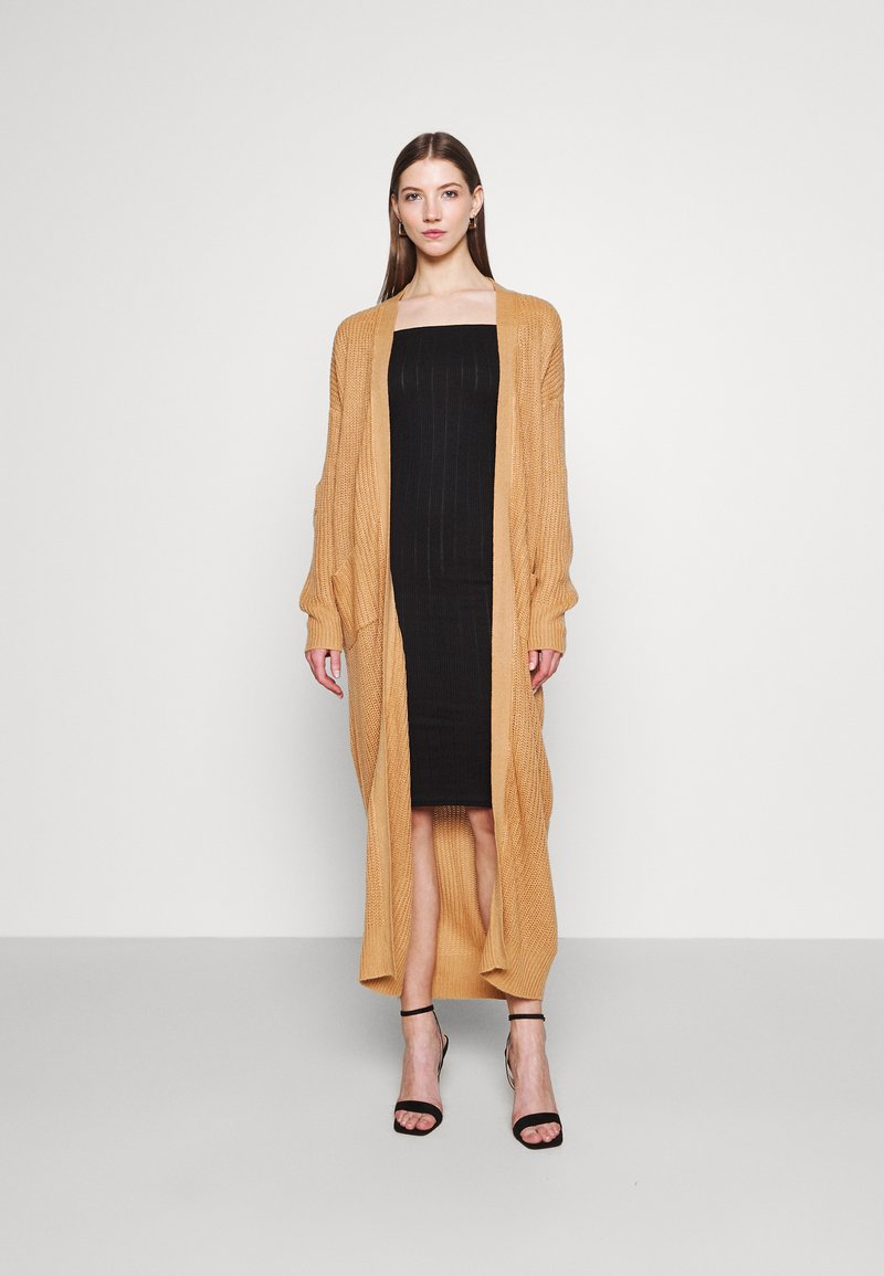 Missguided - LONGLINE PATCH POCKET CARDI - Cardigan - camel