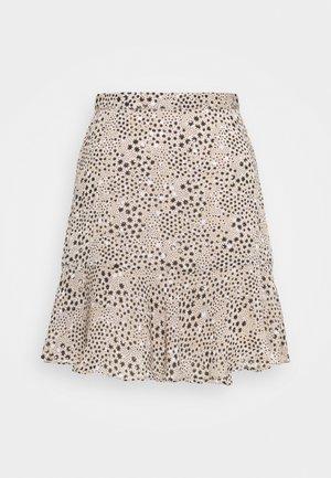 TIERED MINI SKIRT - Mini skirt - beige