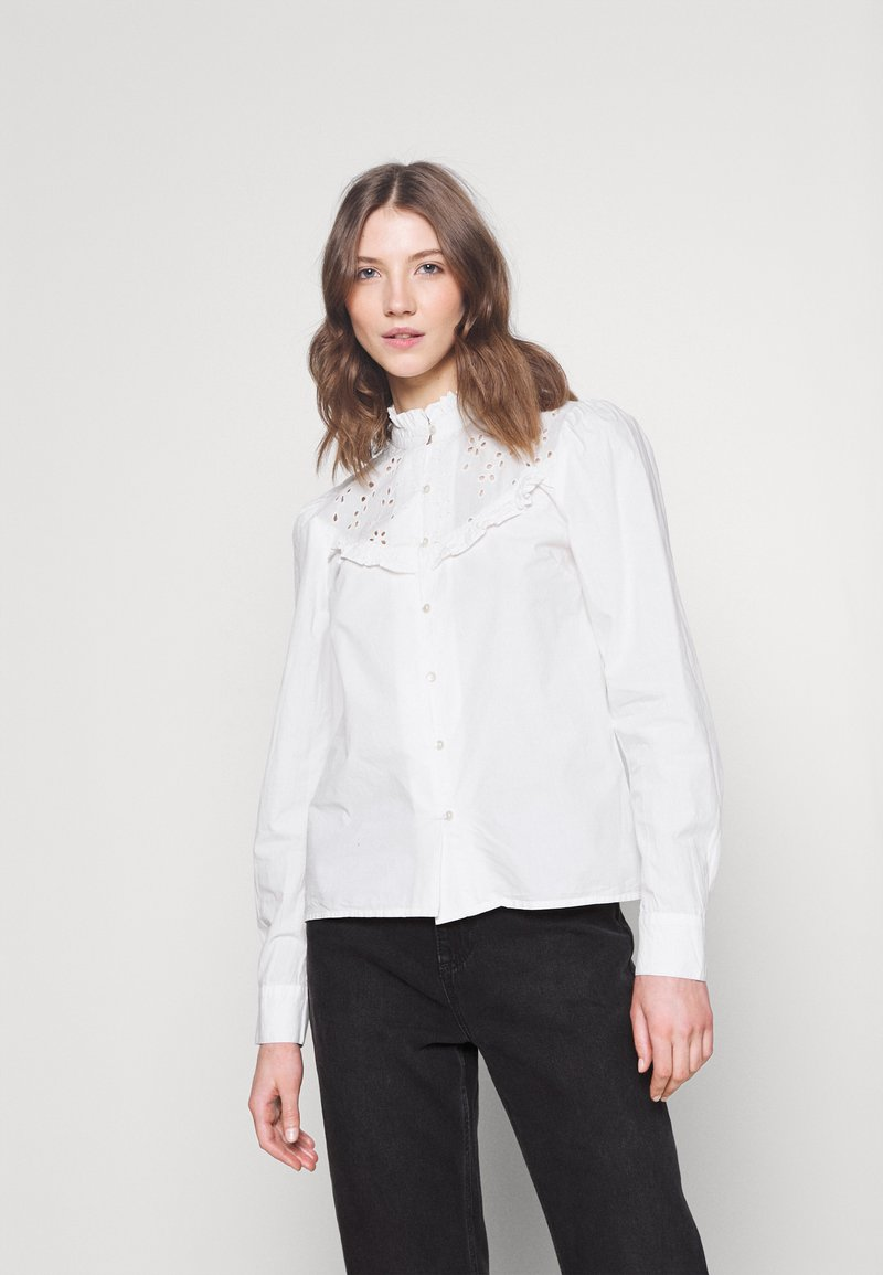 ONLY - ONLNANCY  EMBRODERY - Button-down blouse - cloud dancer
