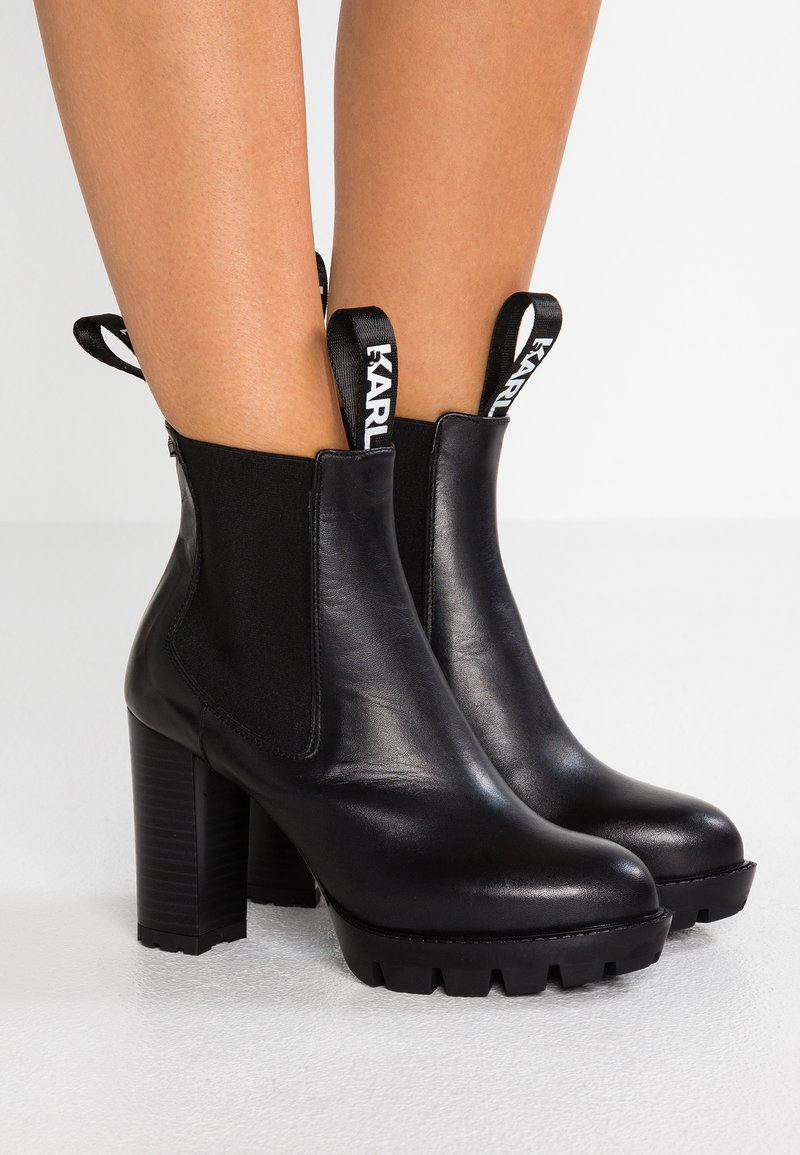 KARL LAGERFELD - VOYAGE GORE - Ankelboots med høye hæler - black