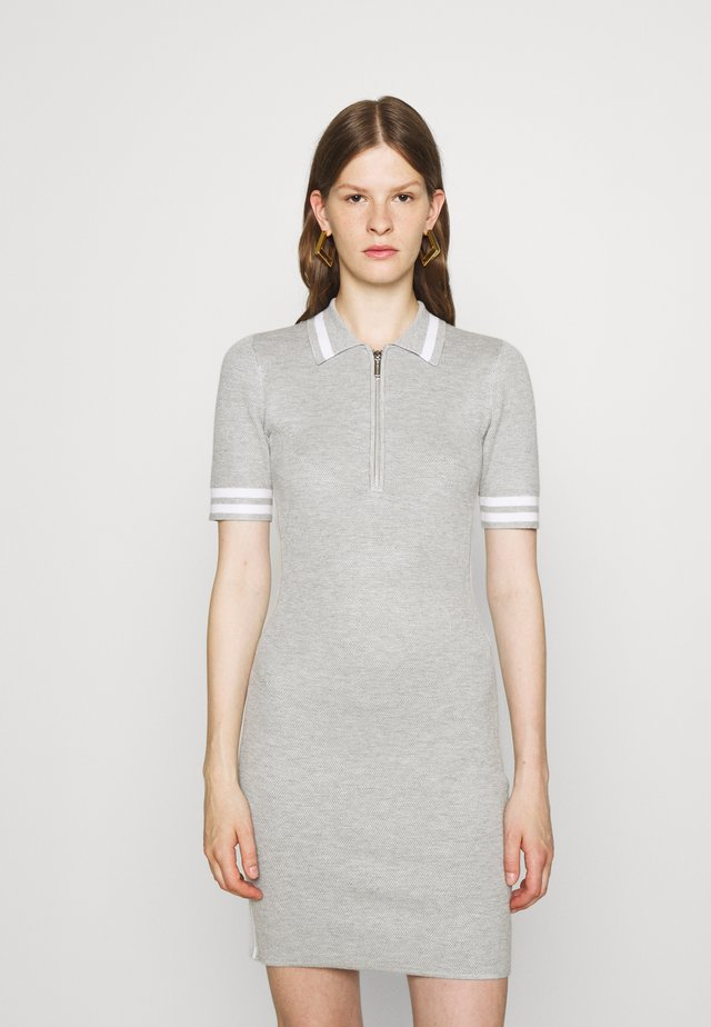 LOGO TAPE HALF ZIP DRESS - Jumper dress - pearl heather