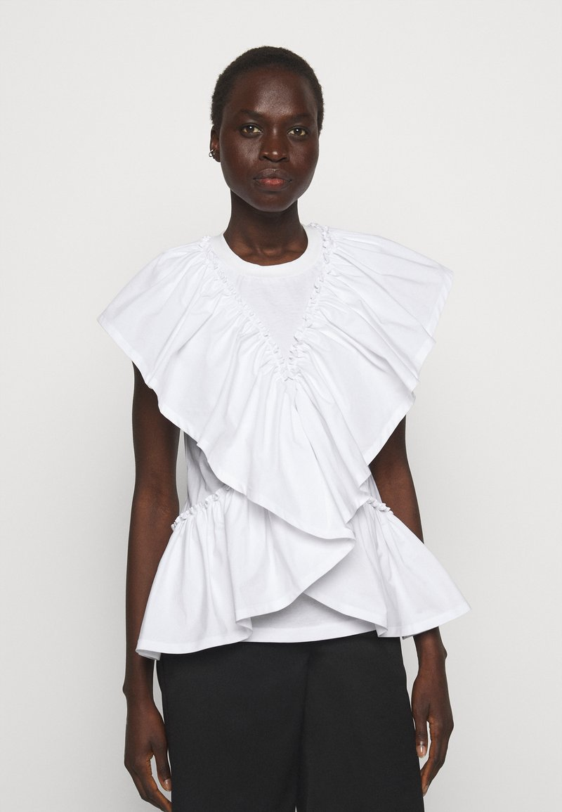 3.1 Phillip Lim - BUTTERFLY RUFFLE SLEEVE TANK - Print T-shirt - offwhite