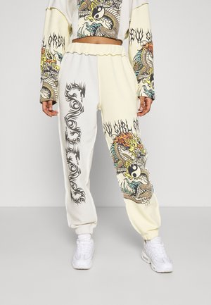 YIN YANG DRAGON PANEL - Pantaloni sportivi - cream