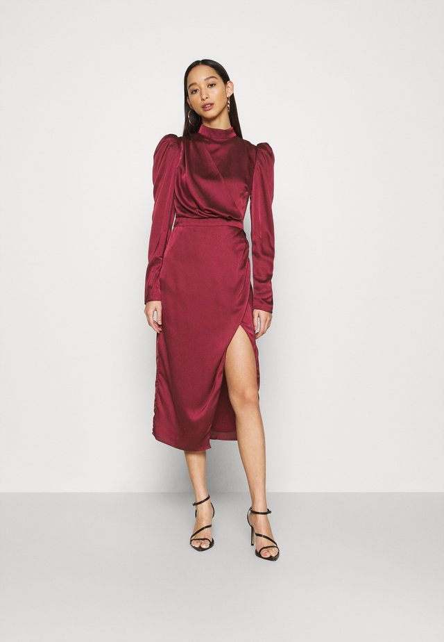 DRAPED WRAP MIDAXI DRESS WITH LONG SLEEVES HIGH NECK AND FRONT - Juhlamekko - wine