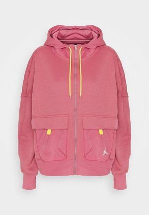 HOODIE - Mikina na zip - desert berry/laser orange