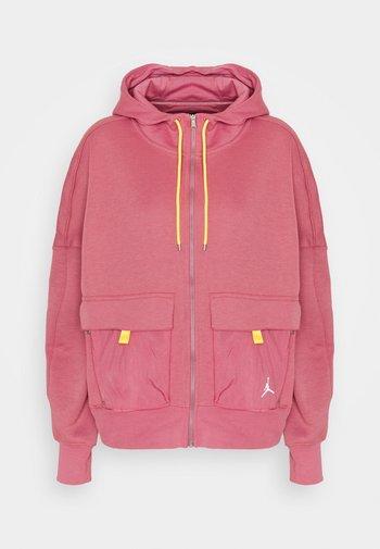 HOODIE - Zip-up sweatshirt - desert berry/laser orange