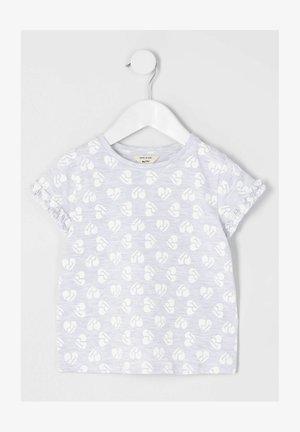 HEART PRINT RUFFLE - Print T-shirt - grey