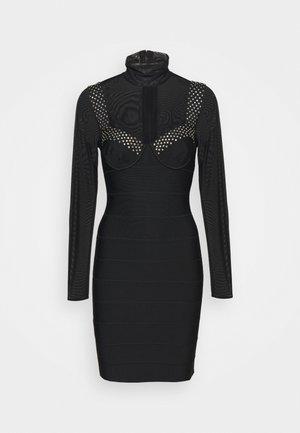 BANDAGE BRA CUP DRESS SHEER CRYSTALS - Stickad klänning - black
