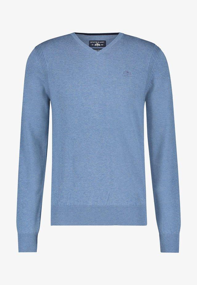 V NECK - Trui - grey blue plain