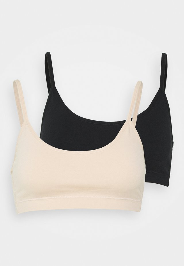 2 pack lace back bralette - Bustier - black/nude