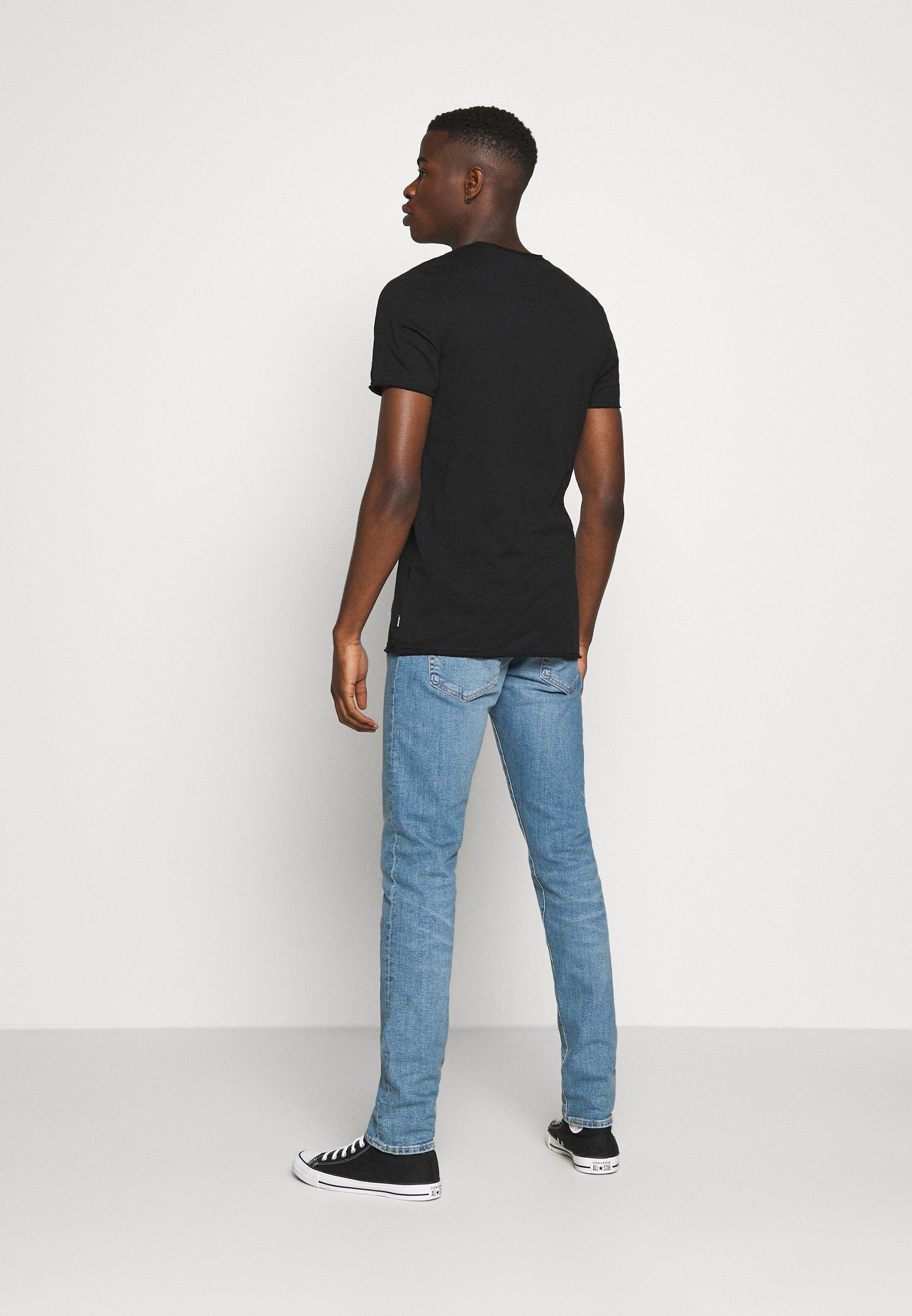 Jack & Jones JJDETAIL TEE U NECK - Basic T-shirt - black kZq5n