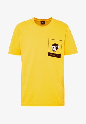 WITH POCKET - Print T-shirt - white/yellow