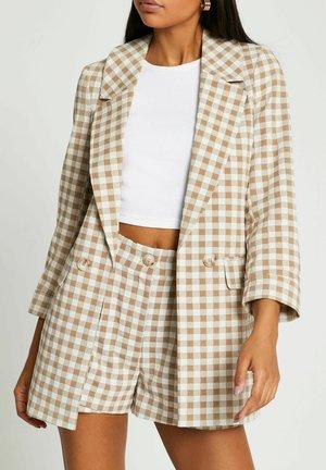 LONG SOFT CHECK - Short coat - brown