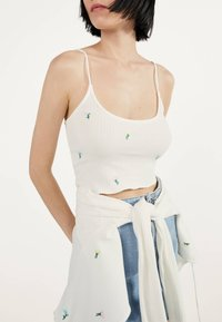 Bershka - MIT STICKEREIEN - Kardigan - white - 3