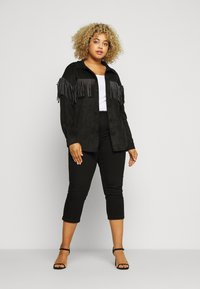 Simply Be - LONGLINE FRINGE SHACKET - Faux leather jacket - black - 1
