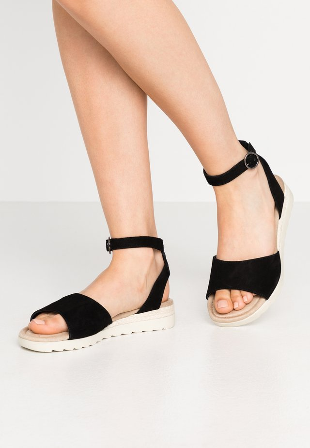 LEATHER WEDGE SANDALS - Sandales compensées - black