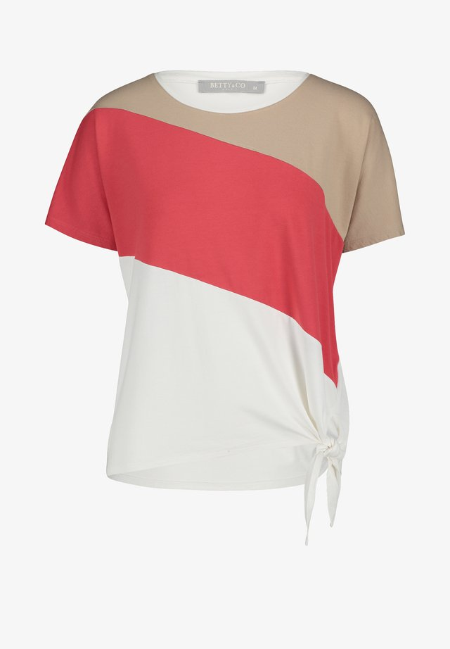 Print T-shirt - cream/red