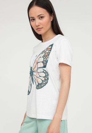 MIT GROSSEM SCHMETTERLINGS-DRUCK - T-shirt imprimé - white