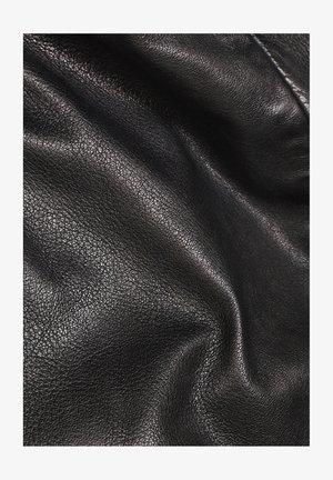 COLLAR SLIM - Leather jacket - dk black
