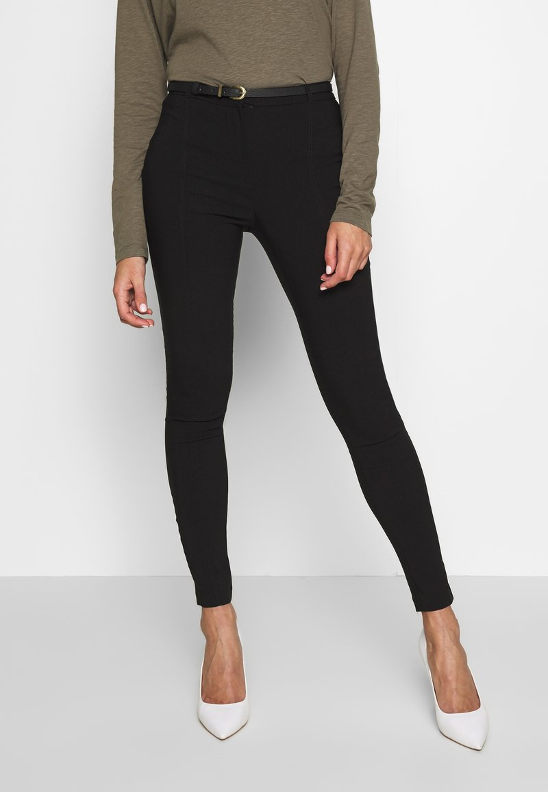 New Look - BELTED BENGALINE SKINNY TROUSERS - Trousers - black