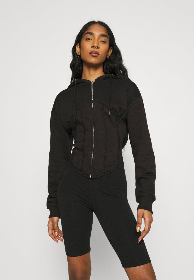 CORSET HOODY - Mikina na zip - black