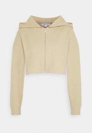 CROPPED WAFFLE HOODIE - veste en sweat zippée - beige