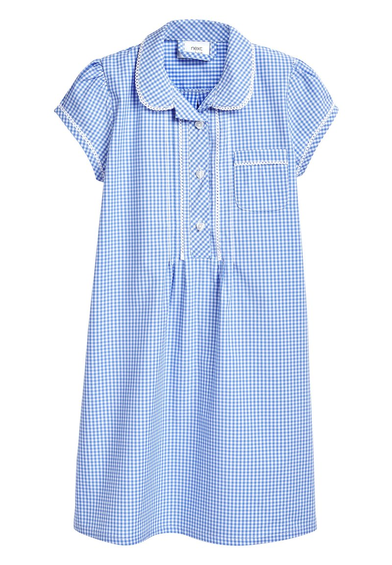 Next - RED BUTTON FRONT LACE GINGHAM DRESS (3-14YRS) - Košilové šaty - blue