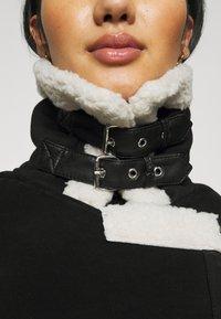 ONLY - ONLDIANA BONDED AVIATOR JACKET - Faux leather jacket - black/white - 5