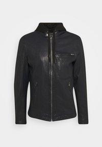 BEN HOOD - Leather jacket - navy