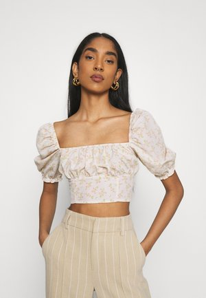 CARE TIE BACK CROP WITH PUFF SLEEVES AND SQUARE NECKLINE - Bluzka - stone ditsy floral
